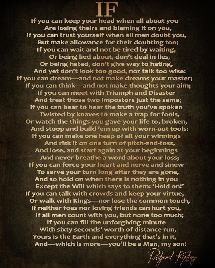 Rudyard Kipling Digital Art - If Poem Vintage Canvas by Dan Sproul
