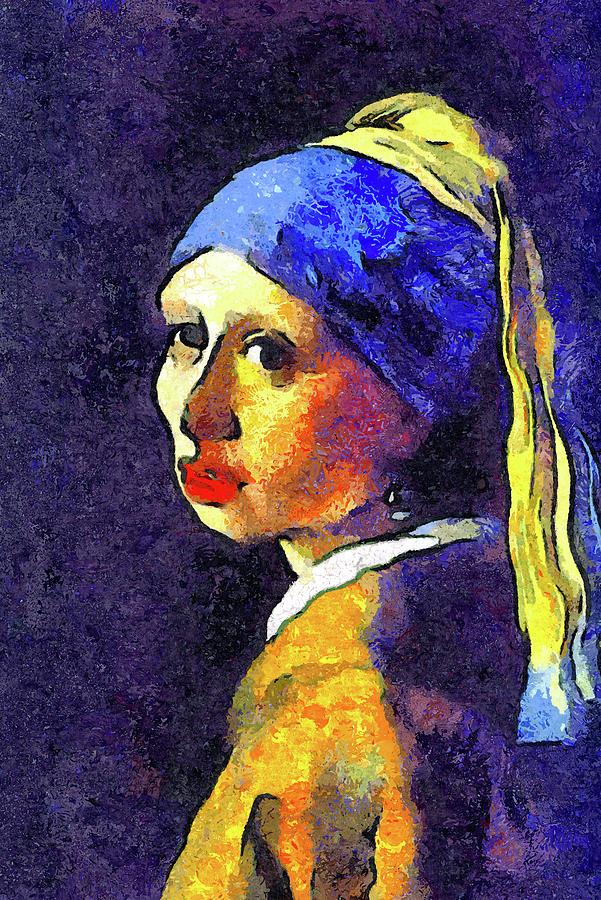 Girl With A Pearl Earring Mixed Media - If Van Gogh Had Painted Vermeer by Georgiana Romanovna