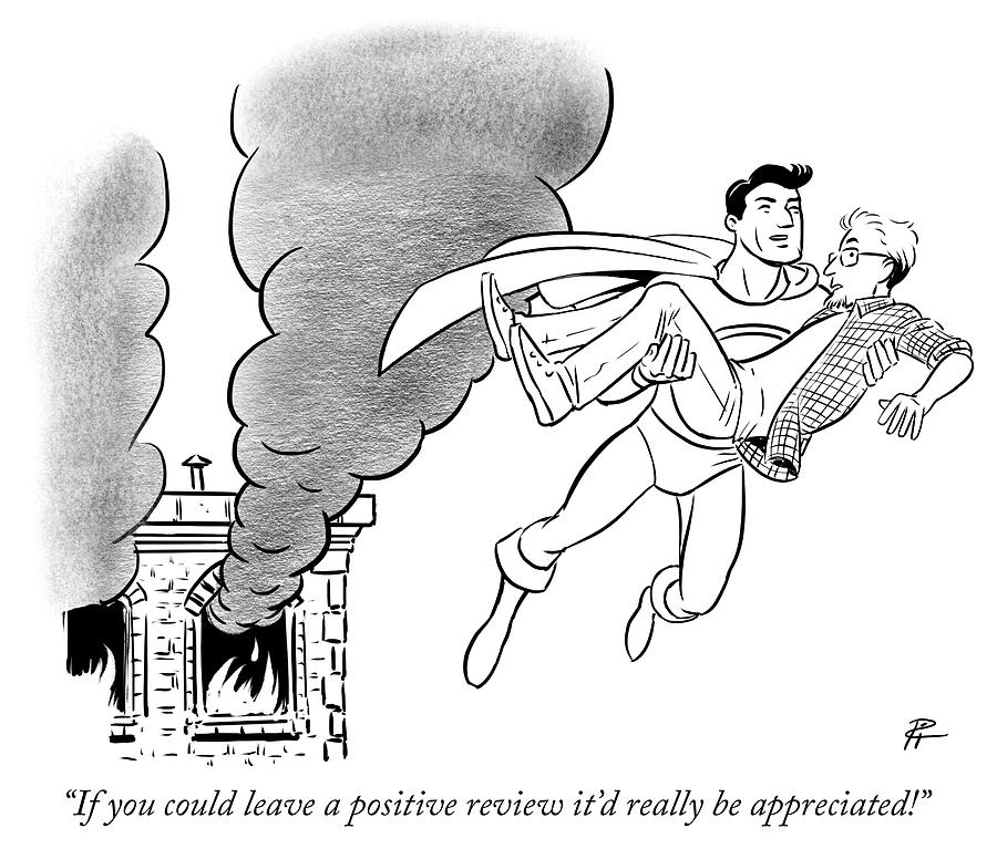 If you could leave a positive review Drawing by Pia Guerra