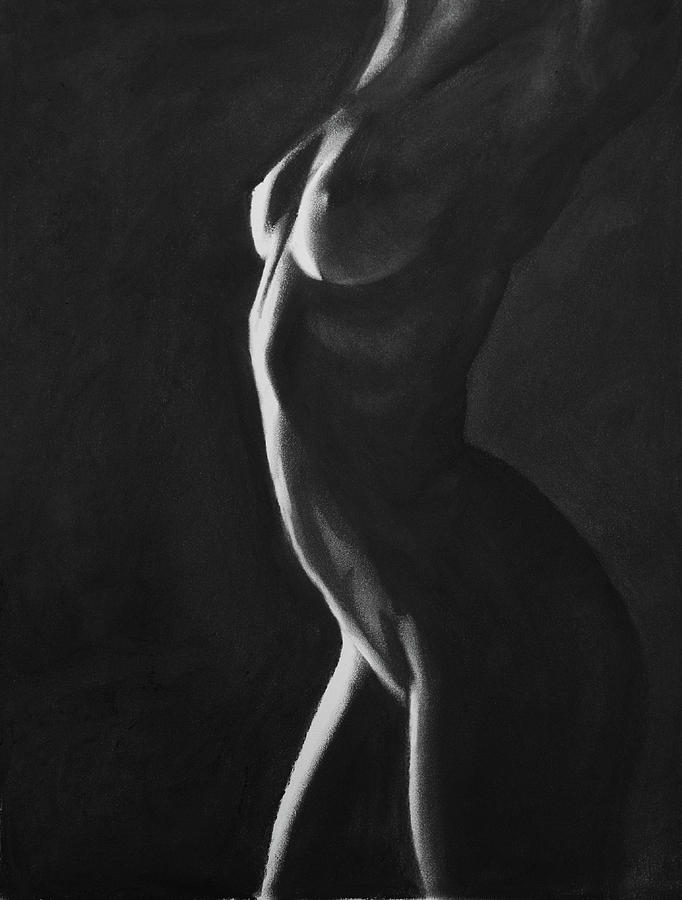 Monochromatic Nude Drawing - Ignite - Charcoal by Blue Muse Fine Art