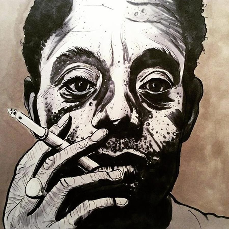Ink Drawing - James Baldwin by Russell Boyle