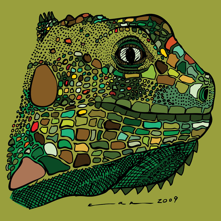 Drawing Drawing - Iguana - Color by Karl Addison