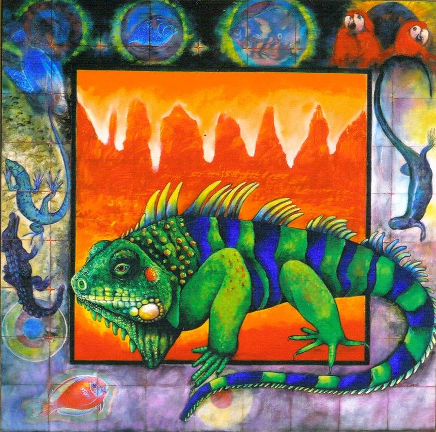Iguana Painting - Iguana by Christine McGinnis