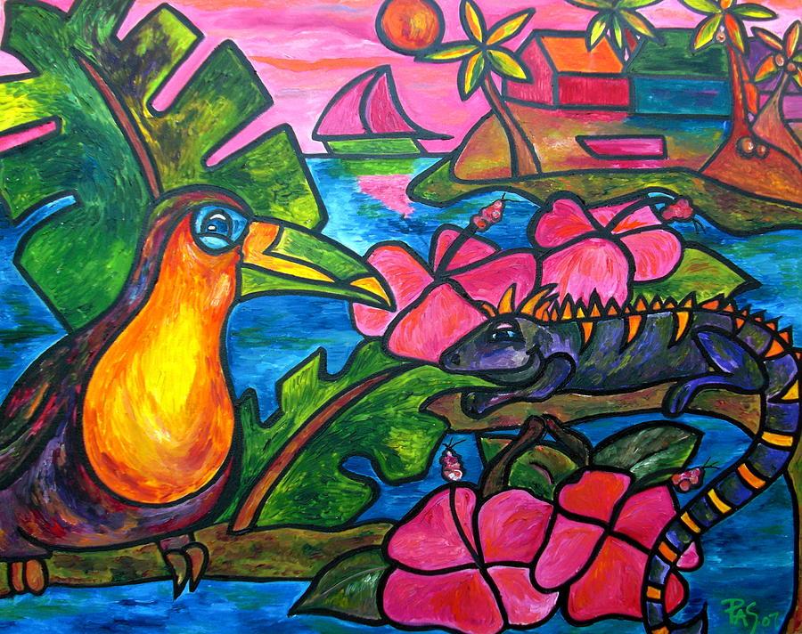 Iguana Painting - Iguana Eco Tour by Patti Schermerhorn