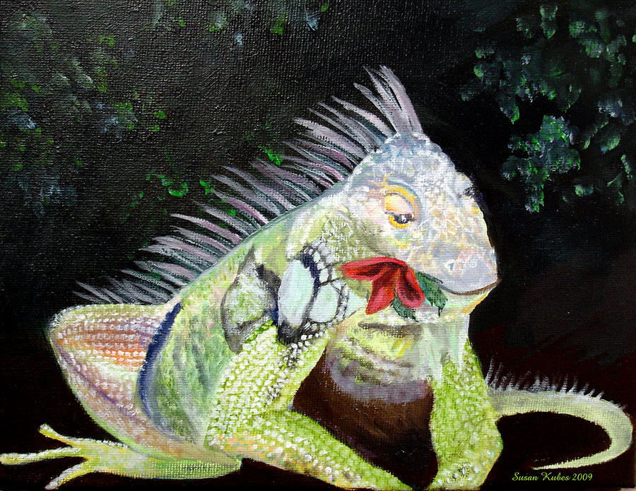 Lizard Painting - Iguana Midnight Snack by Susan Kubes