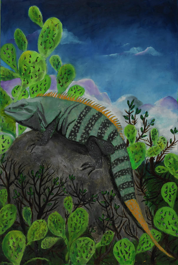 Cozumel Painting - Iguana Rock by Jason Rosenstock