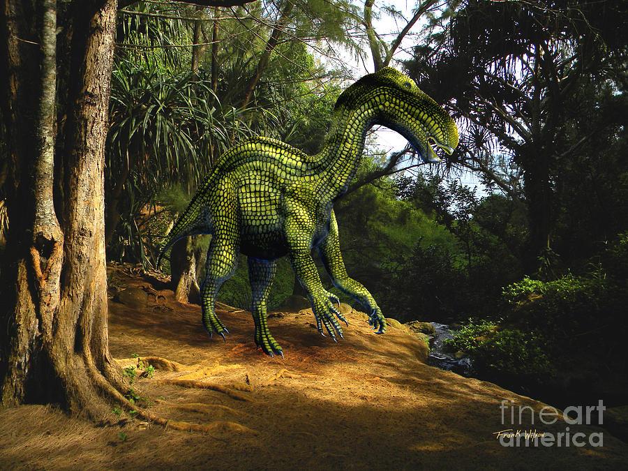 Iguanodon Mixed Media - Iguanodon In The Jungle by Frank Wilson