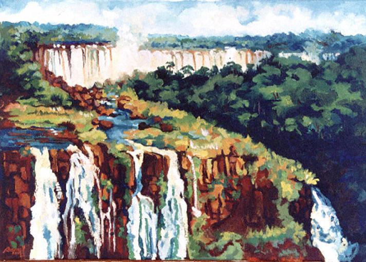 Iguazu Falls Painting by Lilian Barac