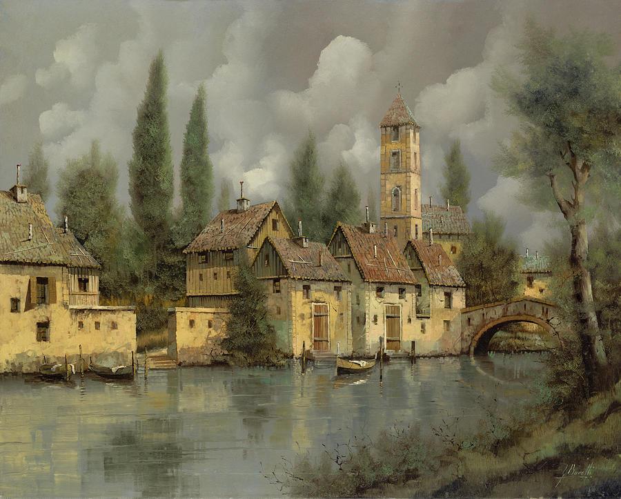 River Painting - Il Borgo Sul Fiume by Guido Borelli