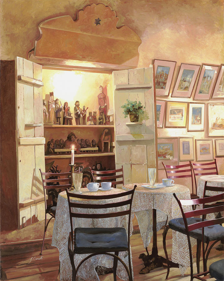 Cafe Painting - Il Caffe Dellarmadio by Guido Borelli
