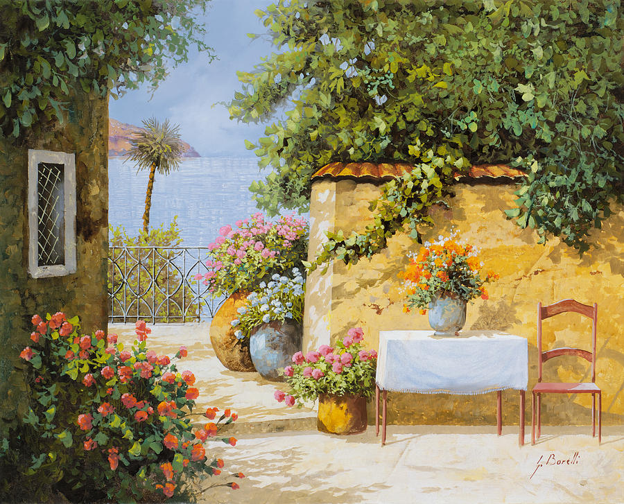 Seascape Painting - Il Muretto E Il Mare by Guido Borelli