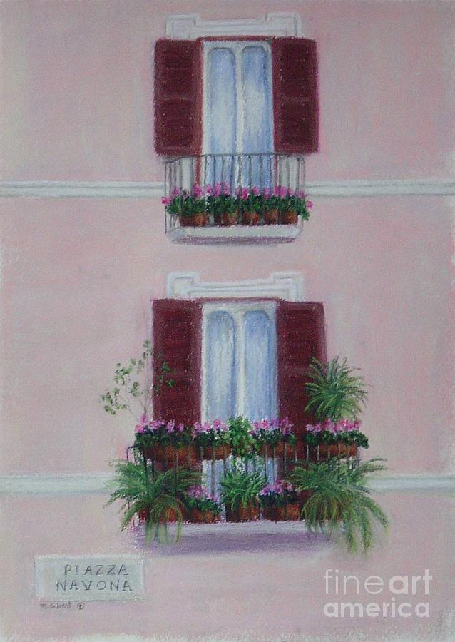 Window Boxes Painting - Il Terrazo In Roma  Piazza Navona by Mary Erbert