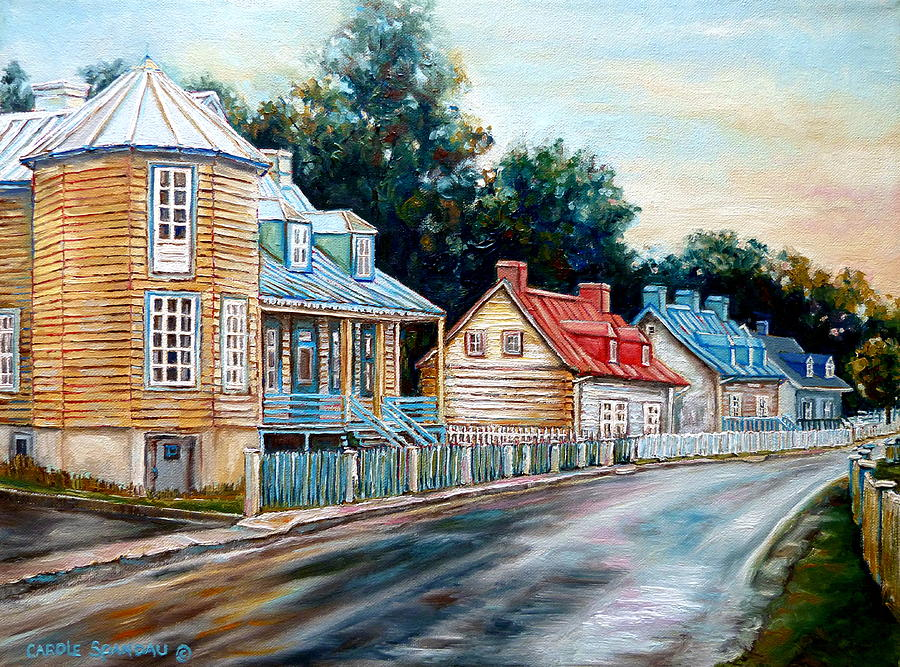 Ile D'orleans Painting - Ile Dorleans Quebec Street Scene by Carole Spandau