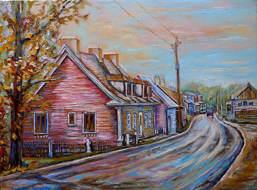 Ile D\'orleans Painting - Iles Dorleans Quebec Village Scene by Carole Spandau