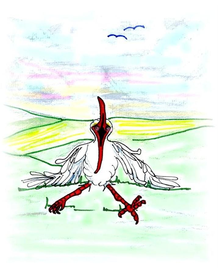 Ibis Drawing - Ill Never Fly Again by Carol Allen Anfinsen