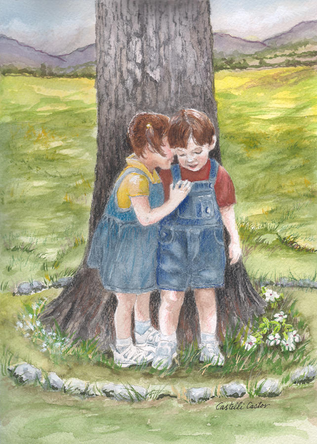 Children Painting - Ill Tell You A Secret by JoAnne Castelli-Castor
