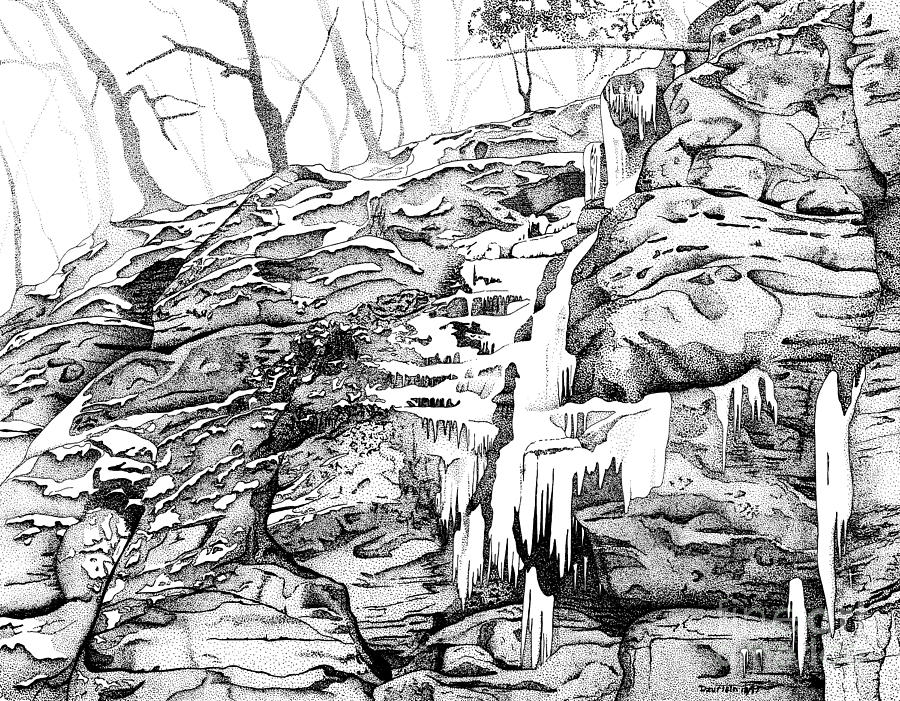 Illinois Canyon Drawing by Mary Jean Dzurisin