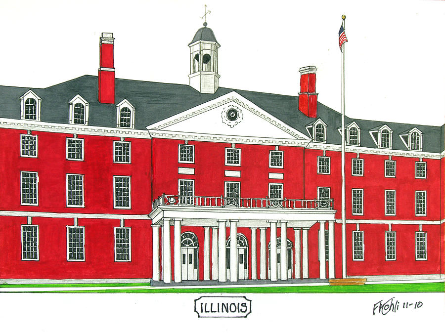 Illinois Unversitypen And Ink Drawings Drawing - Illinois by Frederic Kohli