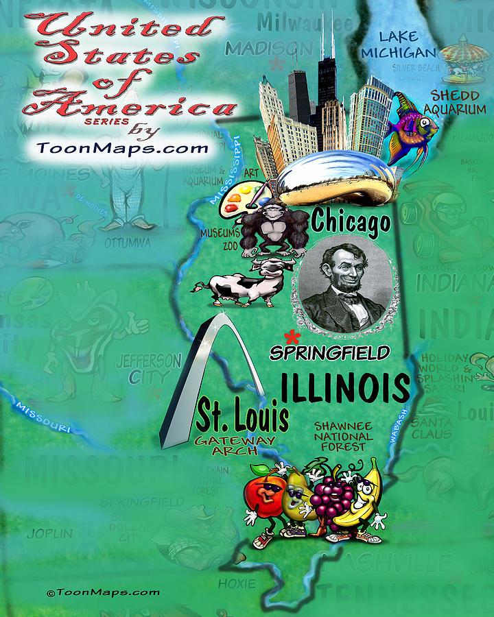 Illinois Fun Map Digital Art