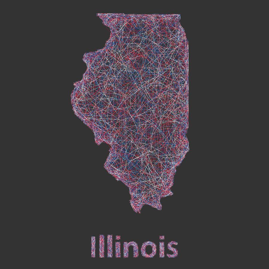 Illinois State Digital Art - Illinois map by David Zydd