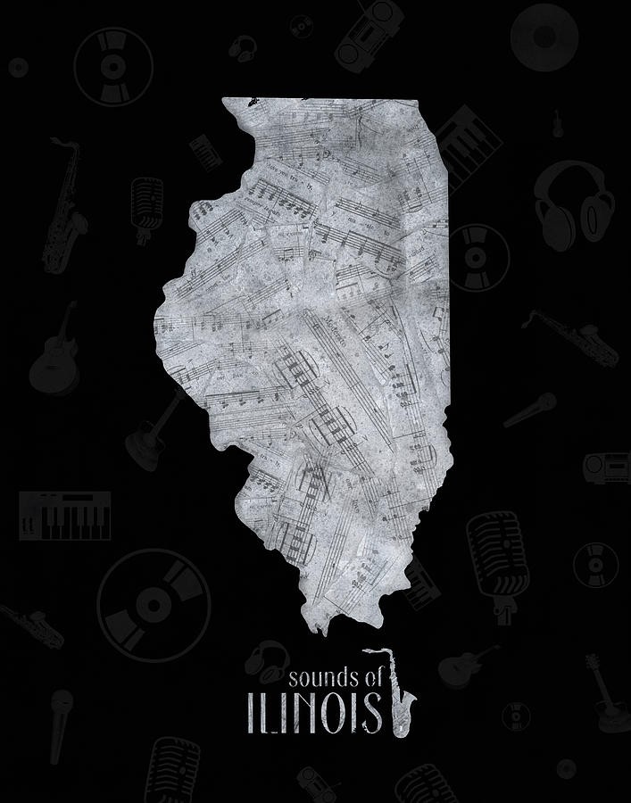 Illinois Map Music Notes 2 Digital Art