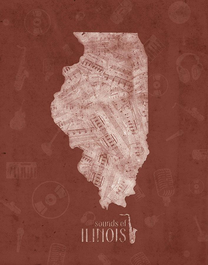 Illinois Map Music Notes 5 Digital Art