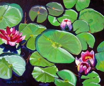 Water Lilies Painting - Illinois Waterlilies 2-- Sold by Jayne Rose