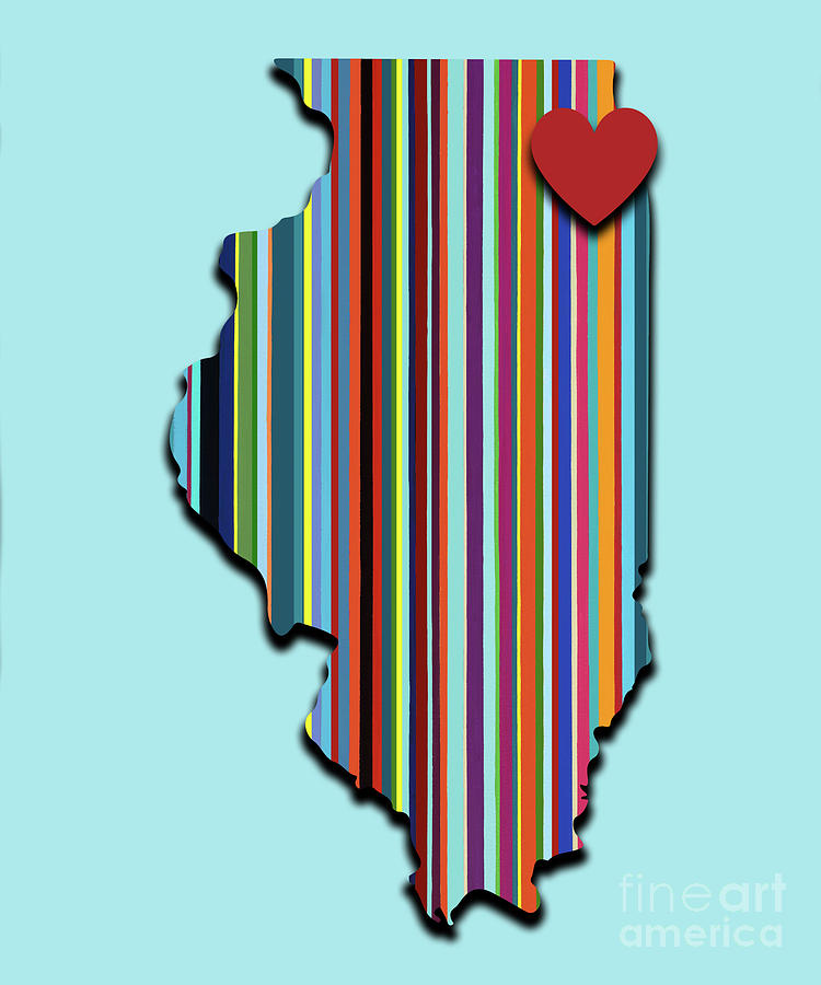 Geometric Mixed Media - Illinois With Love Geometric Map by Carla Bank
