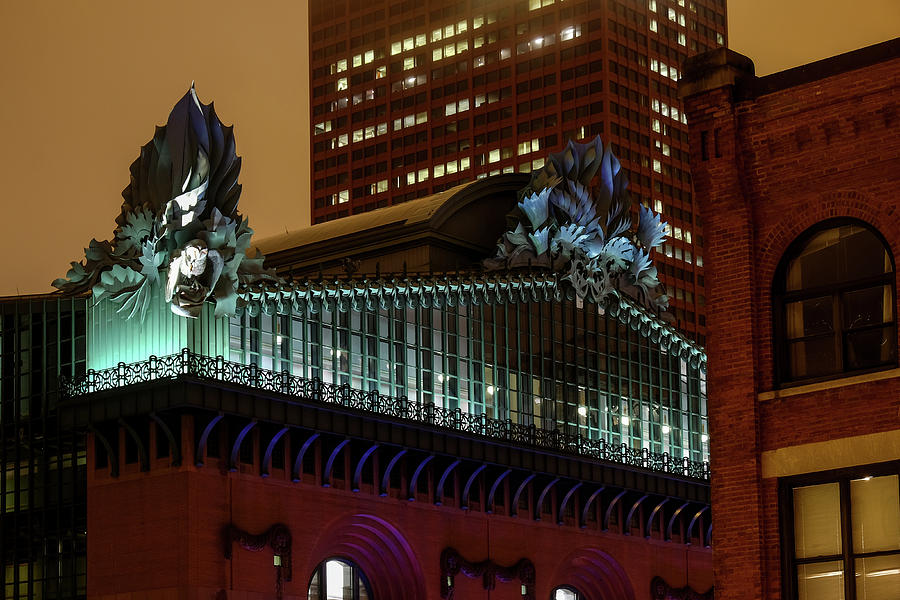 Illuminated acroteria owls of Chicago Public Library by John McArthur