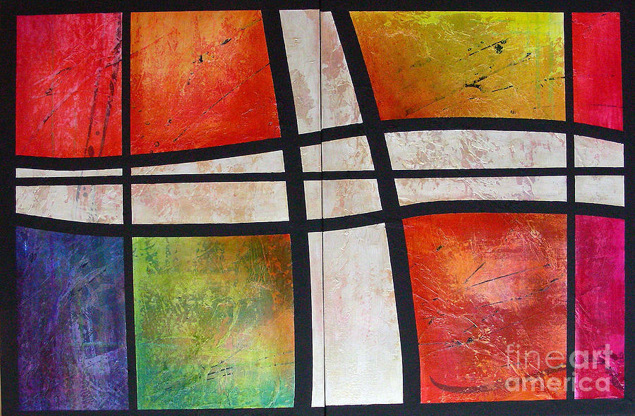 Abstract Diptych Painting - Illumination by Lenore Walker