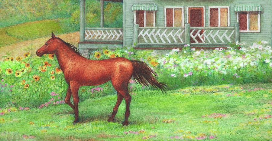 Illustrated Horse Summer Garden by Judith Cheng