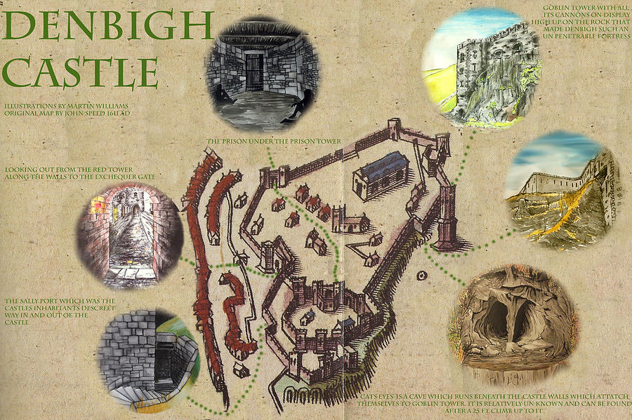 Castle Painting - Illustrated Map Of Denbigh Castle 1611 Ad by Martin Williams