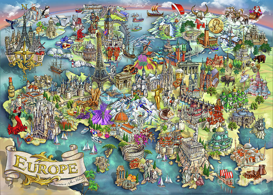 Europe Painting - Illustrated Map of Europe by Maria Rabinky