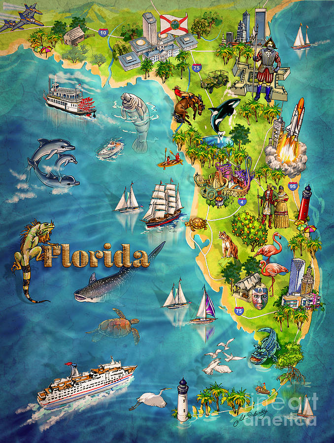 Landmarks In Florida Painting - Illustrated Map Of Florida by Maria Rabinky