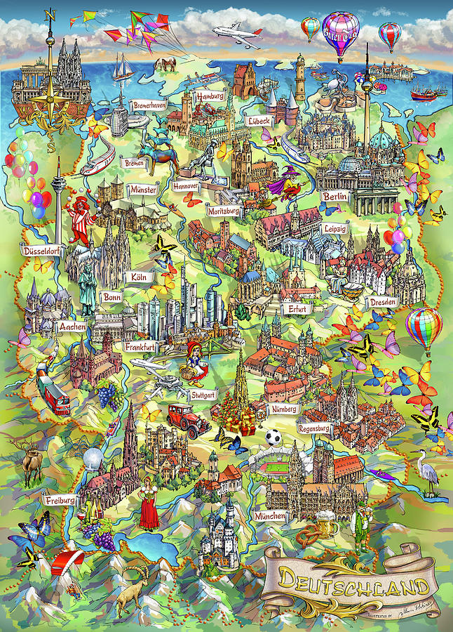 Germany Map Painting - Illustrated Map Of Germany by Maria Rabinky