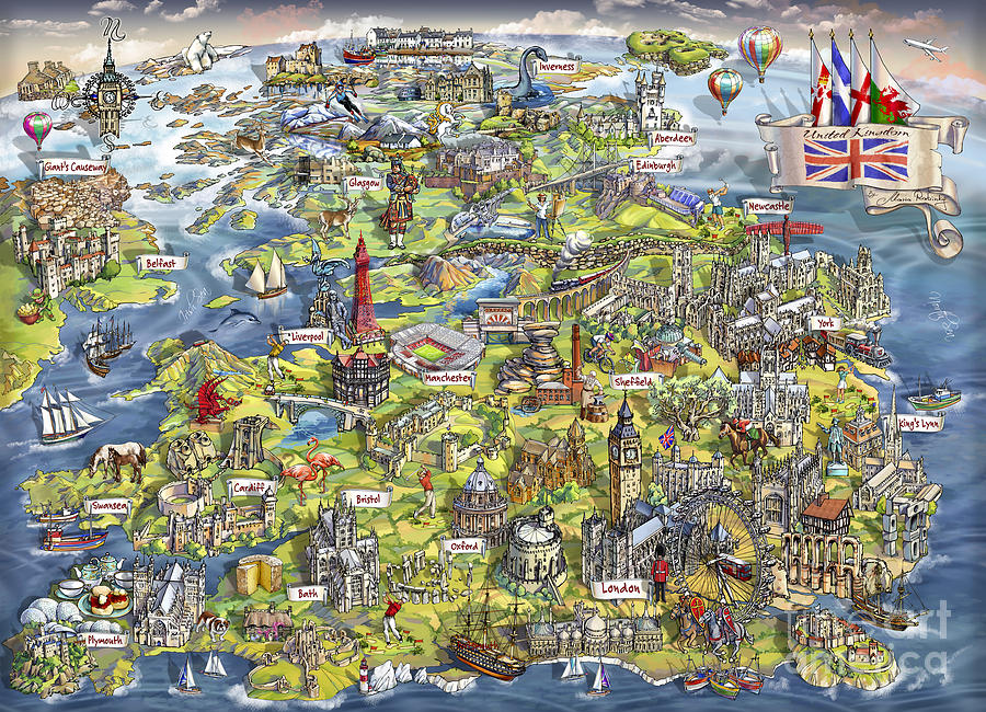 Scotland Painting - Illustrated Map Of The United Kingdom by Maria Rabinky