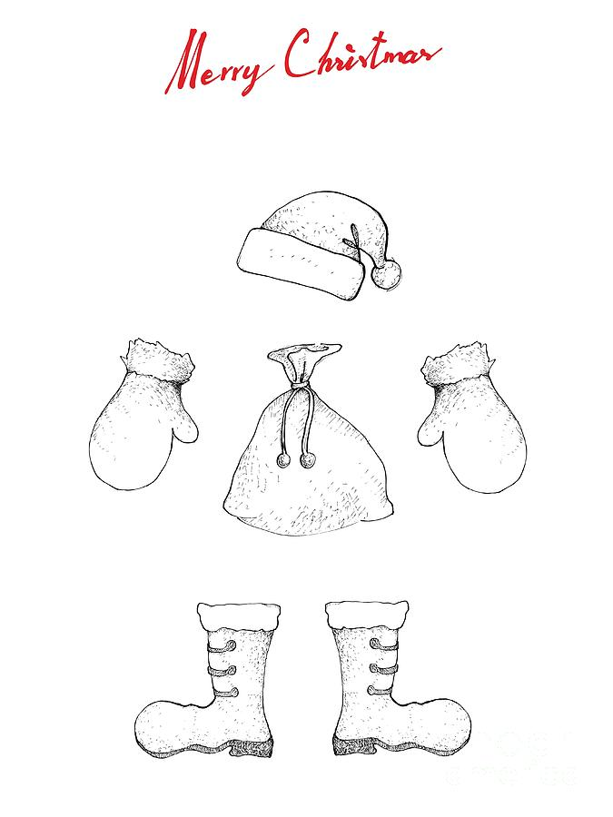 Christmas Boots Drawing.Illustration Hand Drawn Sketch Of Santa Clause Hat Boot Bag And Mitten Waiting For Santa Claus Wearing And Coming To Town On Christmas Night