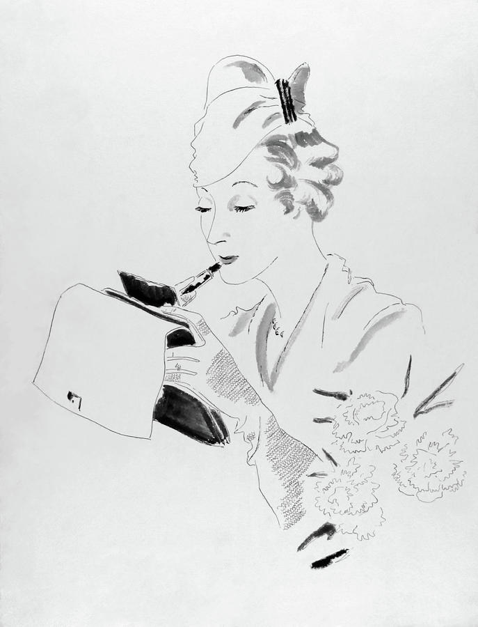 Illustration Of A Woman Applying Lipstick Digital Art by Jean Pages