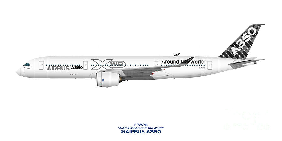 Airbus Digital Art - Illustration Of Airbus A350 F-wwyb by Steve H Clark Photography