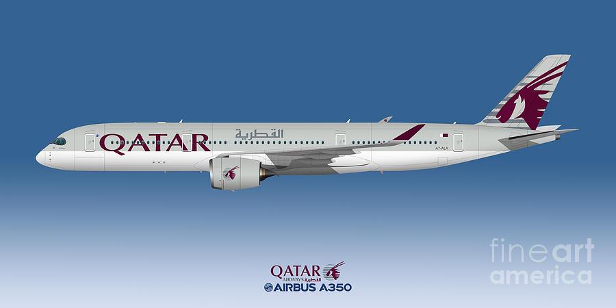 Airbus Digital Art - Illustration Of Qatar Airbus A350 - Blue Version by Steve H Clark Photography