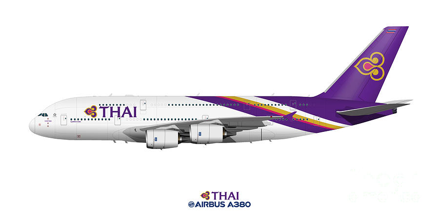 Illustration Of Thai Airways Airbus A380 by Steve H Clark Photography
