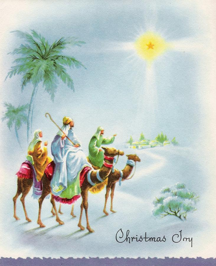 Watercolor Christmas Cards.Illustration Of The Three Magi On Camels Watercolor Christmas Card
