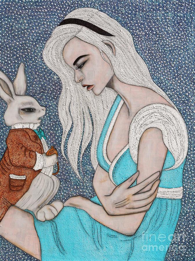 White Rabbit Painting - Im Late by Natalie Briney