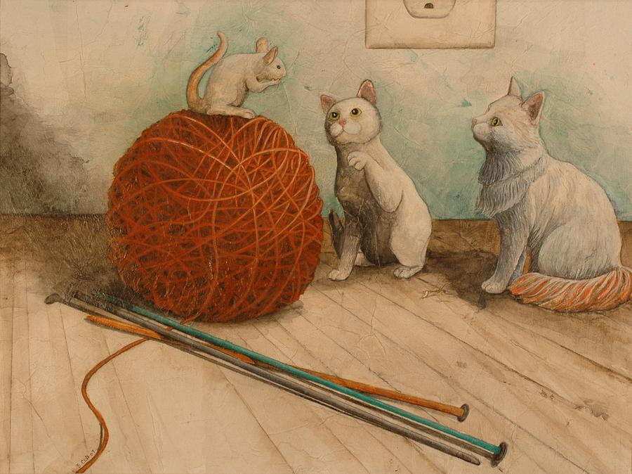Animals Painting - Im Not Supposed To Play With Strangers by Sandy Clift