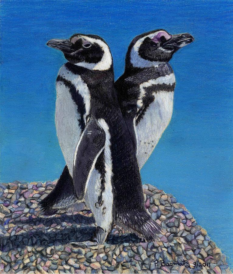 Penguins Painting - Im Not Talking To You - Penguins by Patricia Barmatz