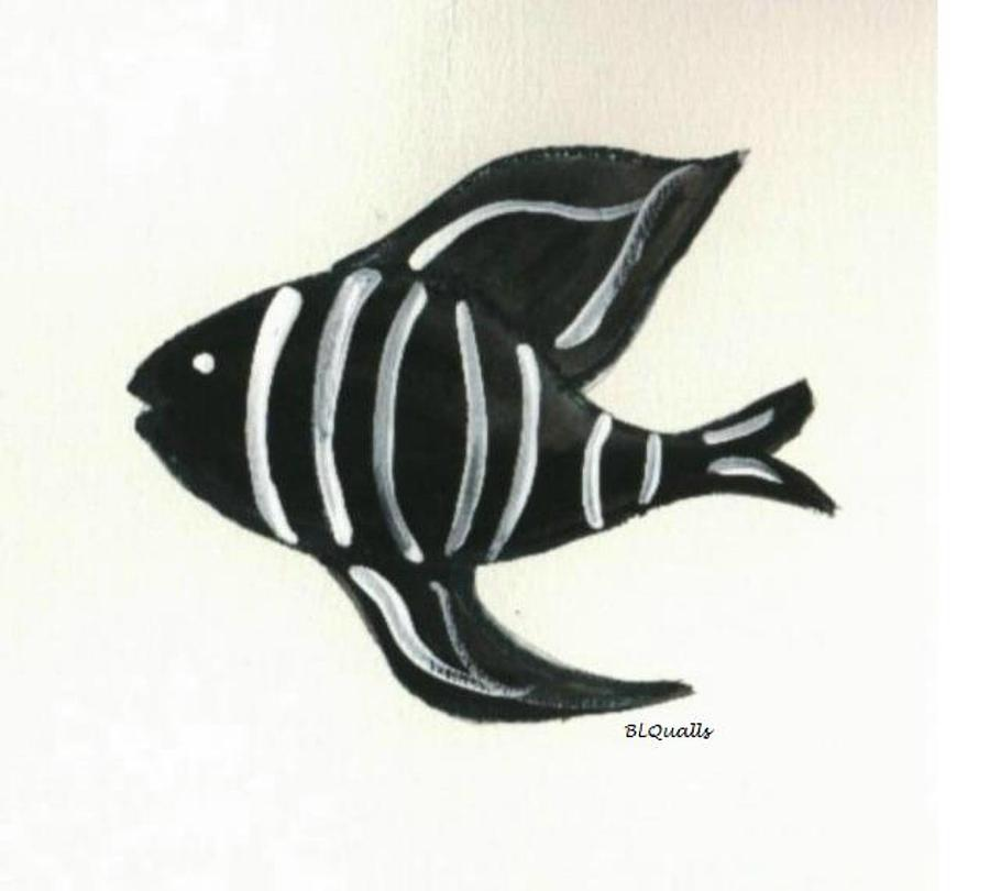 Imaginary Black And White Fish Painting by B L Qualls