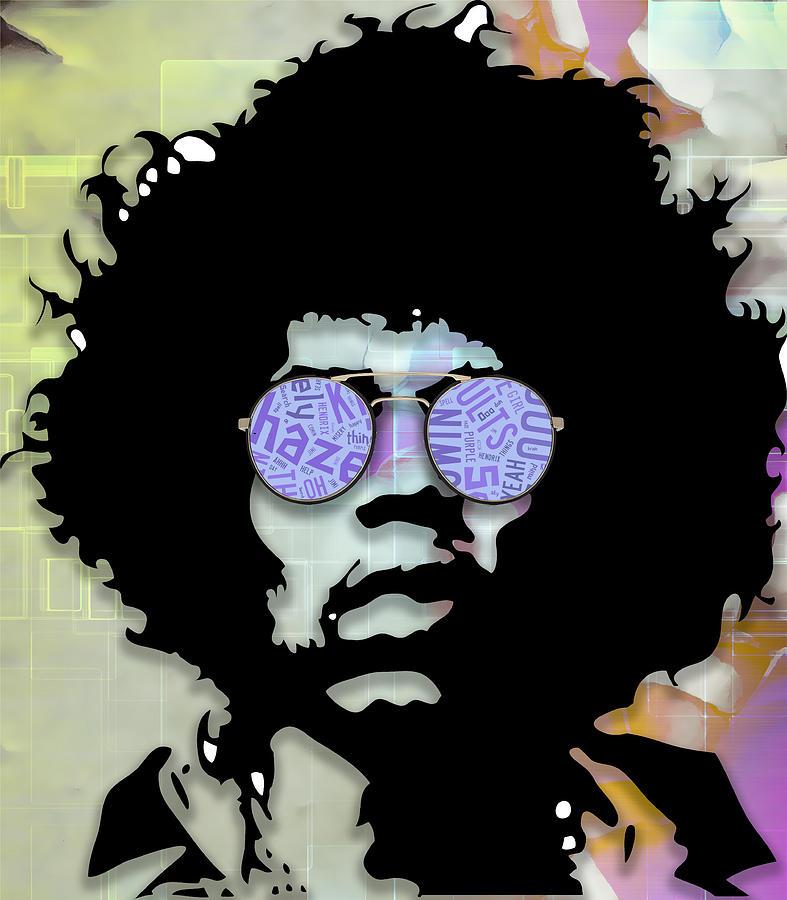 Jimi Hendrix Mixed Media - imaginative Jimi Hendrix by Marvin Blaine