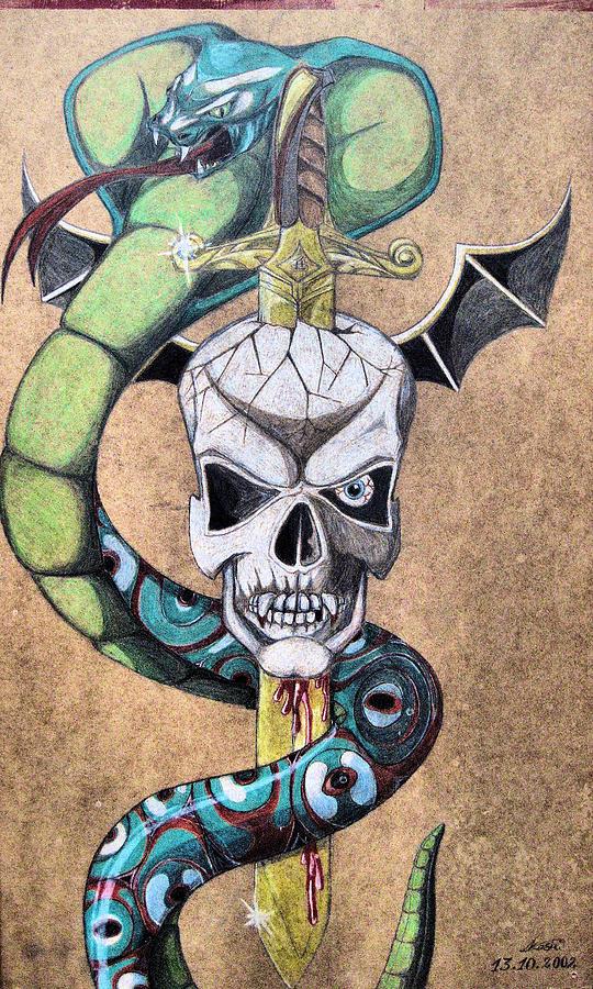 Cobra Drawing - imaginative Simbol by Alban Dizdari