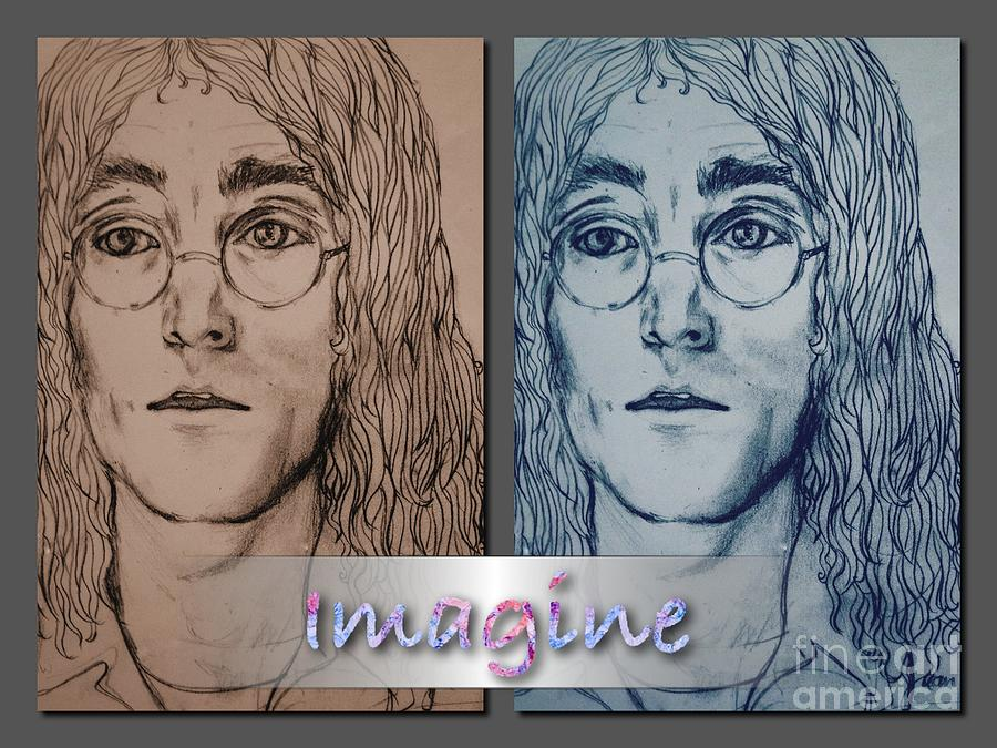 Imagine Drawing - Imagine Again by Joan-Violet Stretch