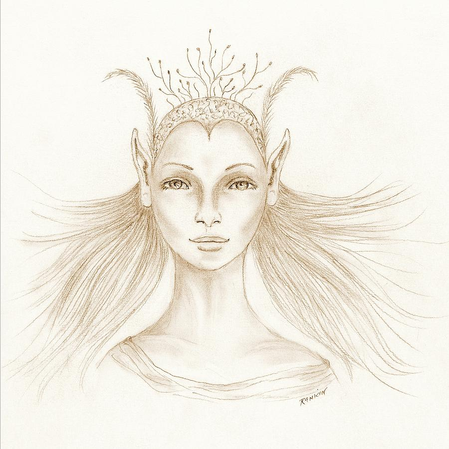 Woman Drawing - Imagine by K S Rankin
